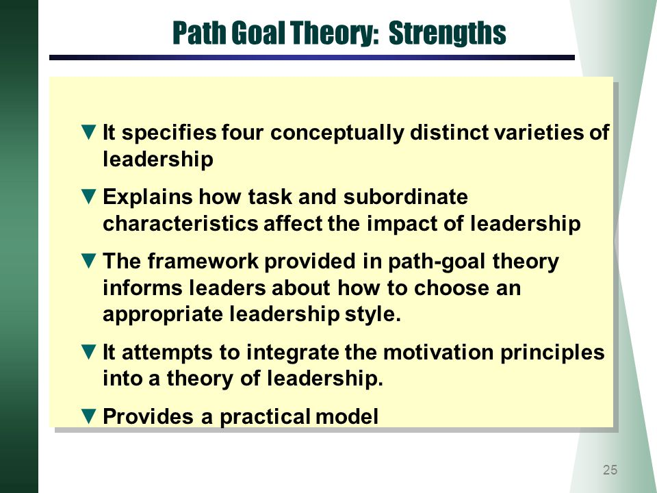 path-goal theory essay In brief, path-goal theory is designed to explain how leaders can help fol- lowers along the path to their goals by selecting specific behaviors that are best suited to followers' needs and to the situation in which followers are.