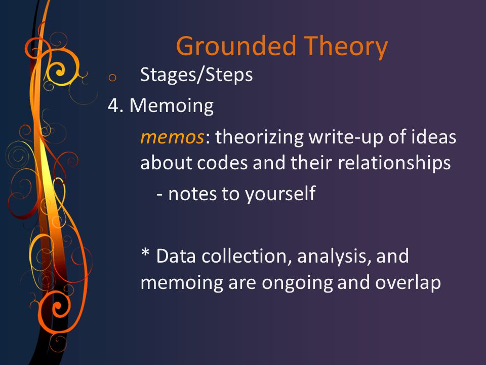 Grounded Theory Stages/Steps 4. Memoing