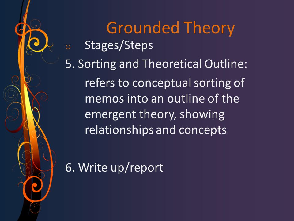 Grounded Theory Stages/Steps 5. Sorting and Theoretical Outline:
