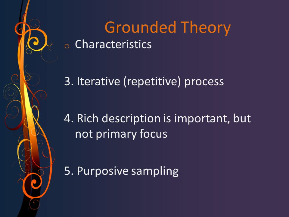 Grounded Theory Characteristics 3. Iterative (repetitive) process