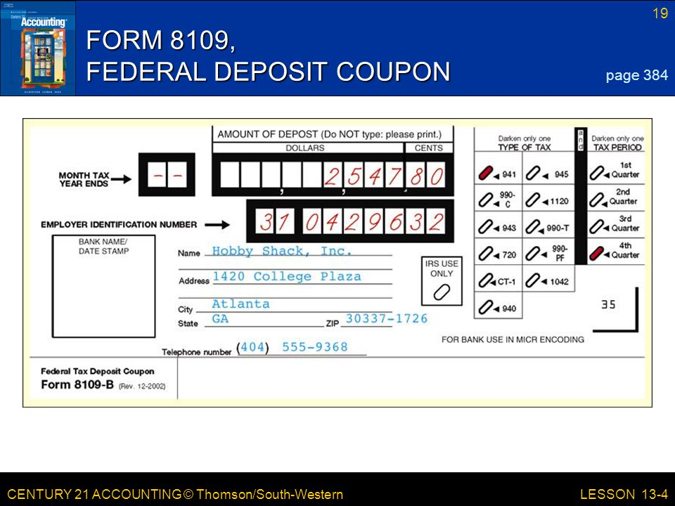 FORM 8109, FEDERAL DEPOSIT COUPON
