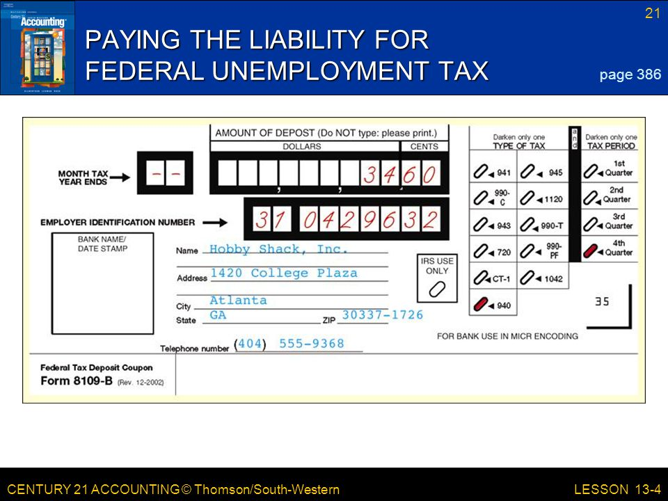 PAYING THE LIABILITY FOR FEDERAL UNEMPLOYMENT TAX