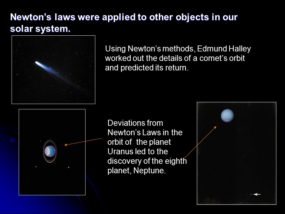 Newton's laws were applied to other objects in our solar system.