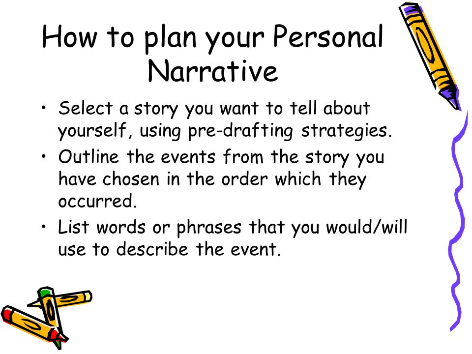 How to plan your Personal Narrative