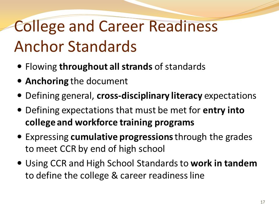 College and Career Readiness Anchor Standards