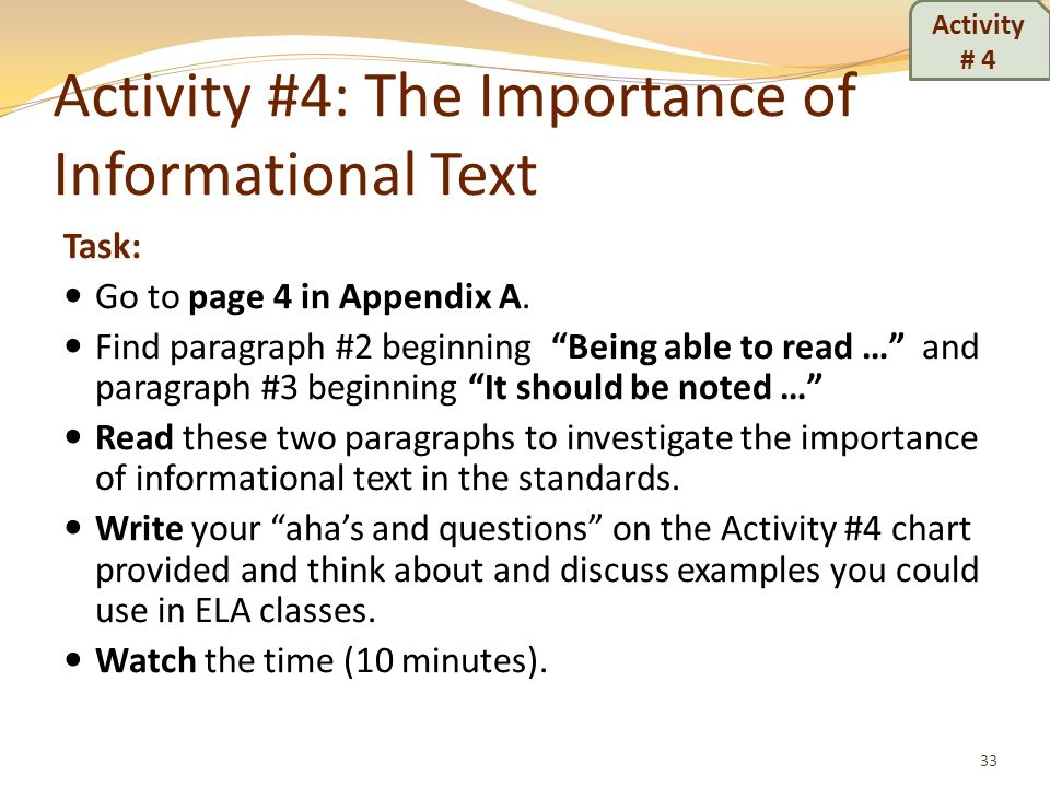 Activity #4: The Importance of Informational Text