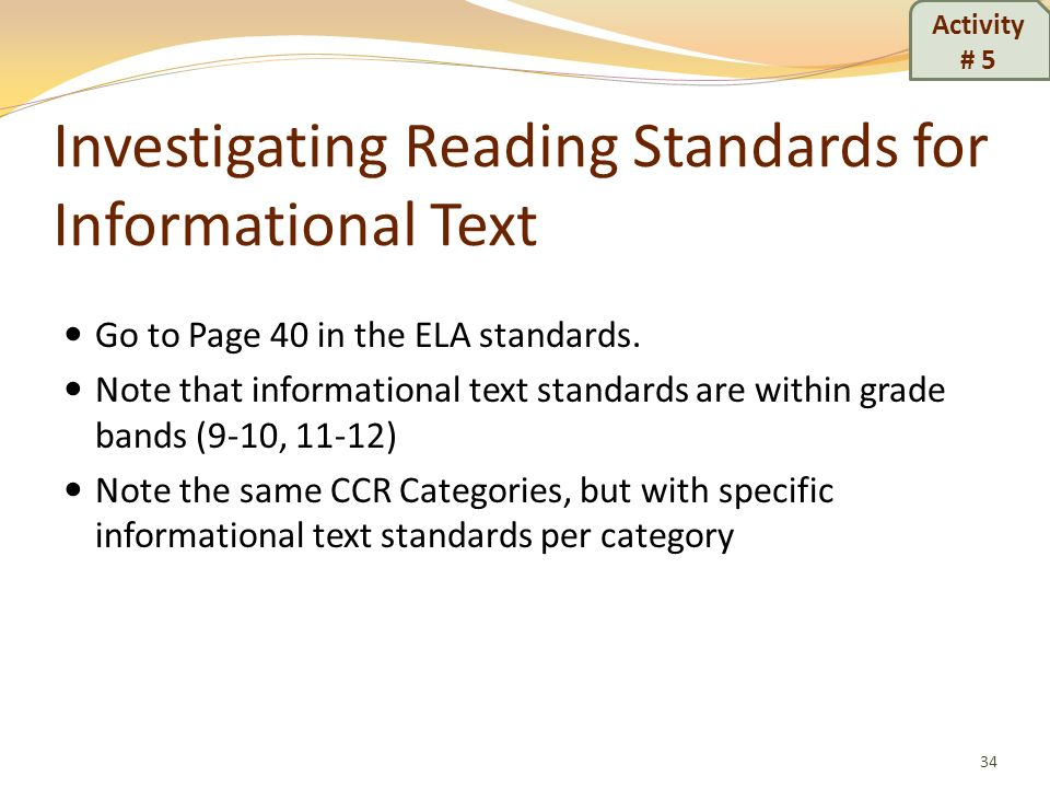 Investigating Reading Standards for Informational Text