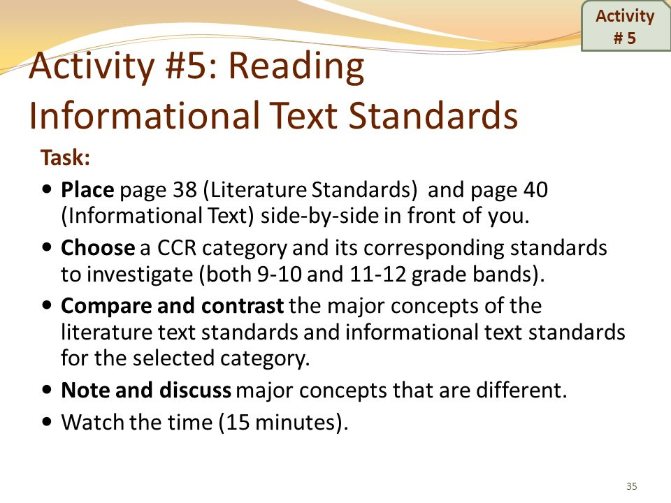 Activity #5: Reading Informational Text Standards