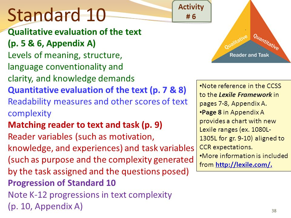 Standard 10 Qualitative evaluation of the text (p. 5 & 6, Appendix A)