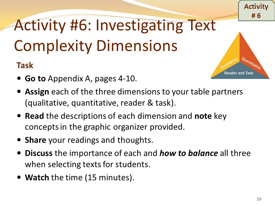 Activity #6: Investigating Text Complexity Dimensions