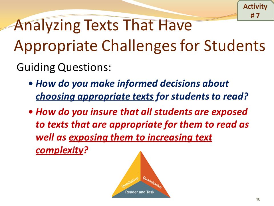 Analyzing Texts That Have Appropriate Challenges for Students