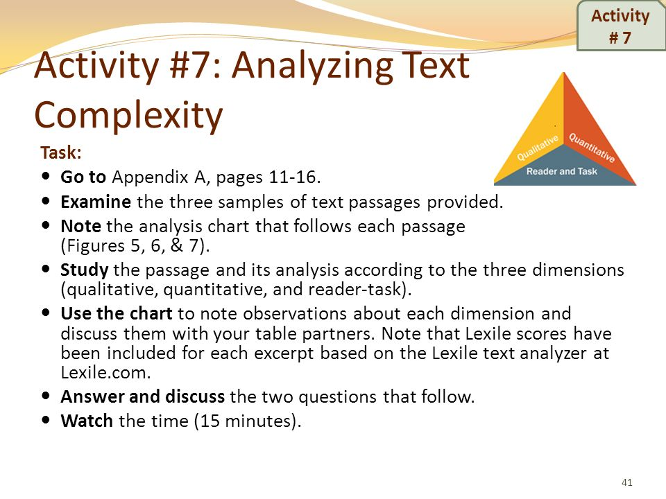 Activity #7: Analyzing Text Complexity