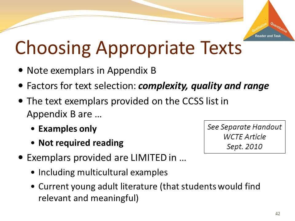 Choosing Appropriate Texts