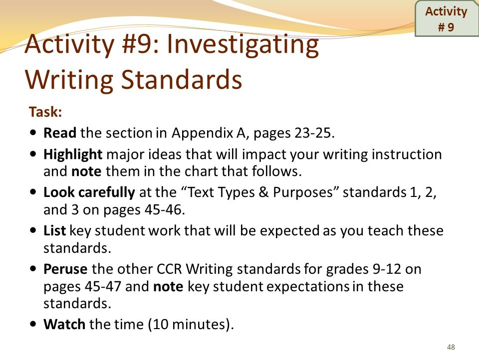 Activity #9: Investigating Writing Standards