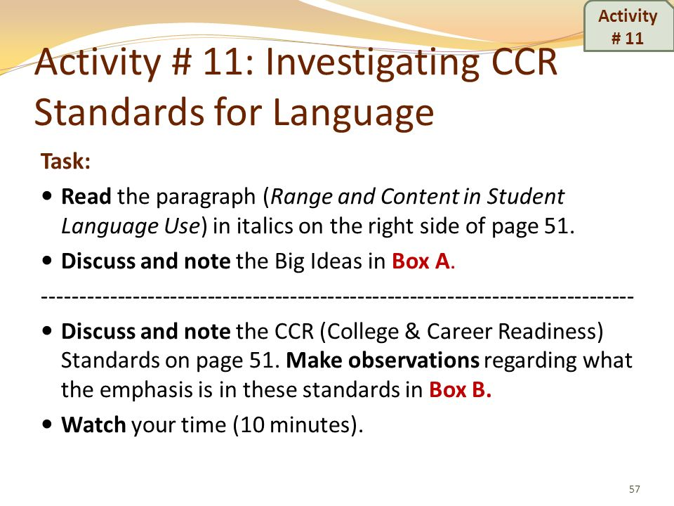 Activity # 11: Investigating CCR Standards for Language