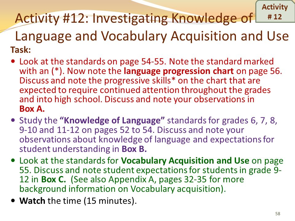 Activity # 12Activity #12: Investigating Knowledge of Language and Vocabulary Acquisition and Use. Task: