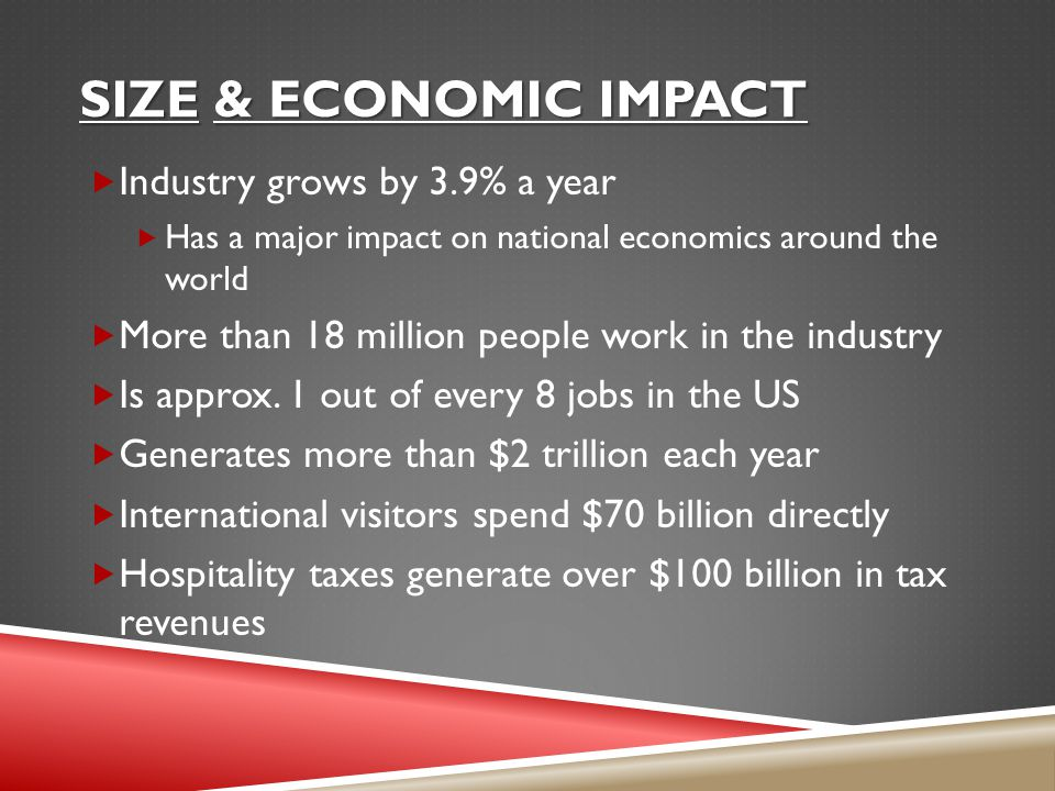 Size & economic impact Industry grows by 3.9% a year