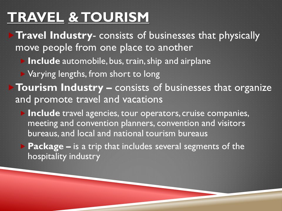 Travel & Tourism Travel Industry- consists of businesses that physically move people from one place to another.