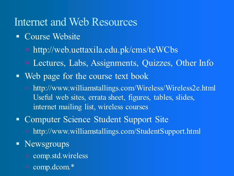 Internet and Web Resources