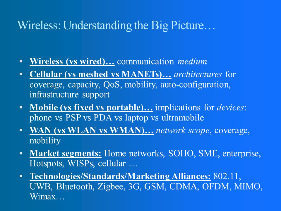 Wireless: Understanding the Big Picture…