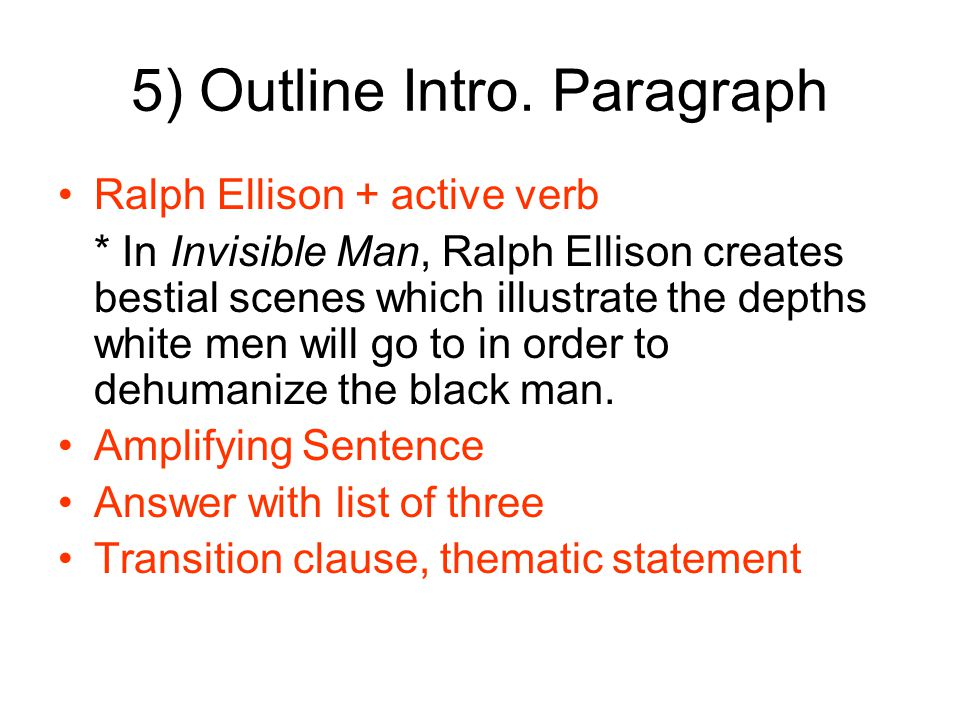 invisible man essay outline A short summary of ralph ellison's invisible man this free synopsis covers all the crucial plot points of invisible man.