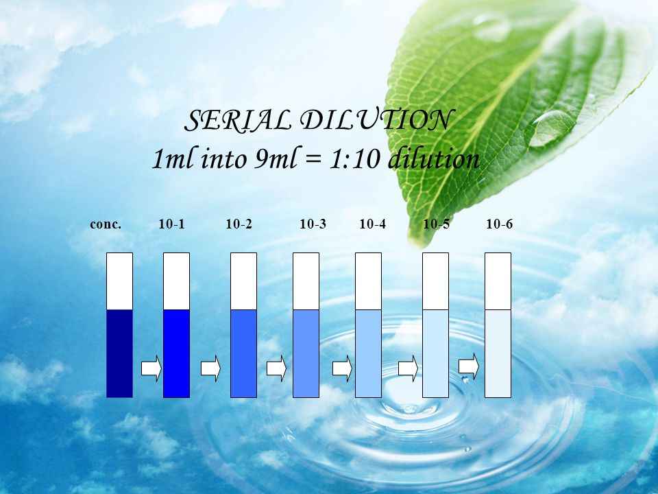SERIAL DILUTION 1ml into 9ml = 1:10 dilution