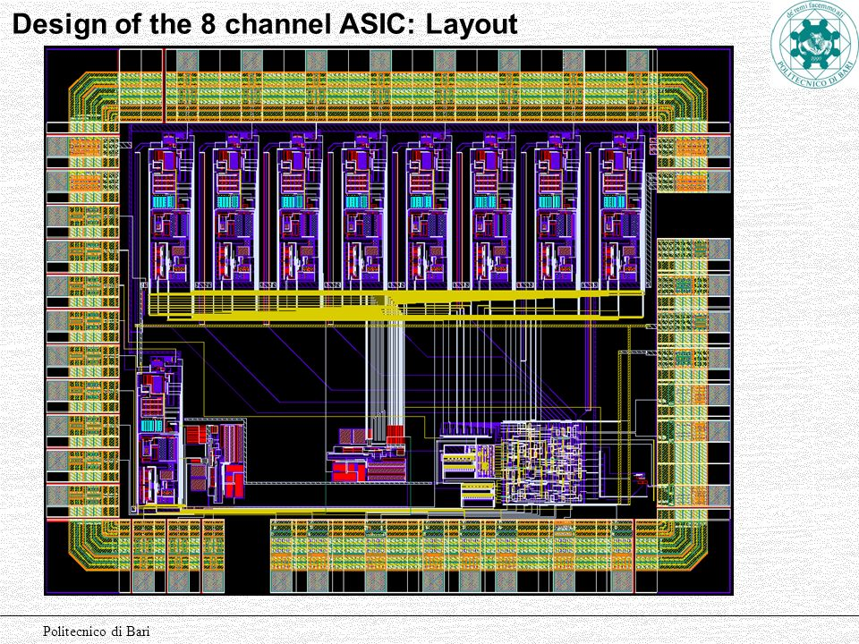 Design of the 8 channel ASIC: Layout