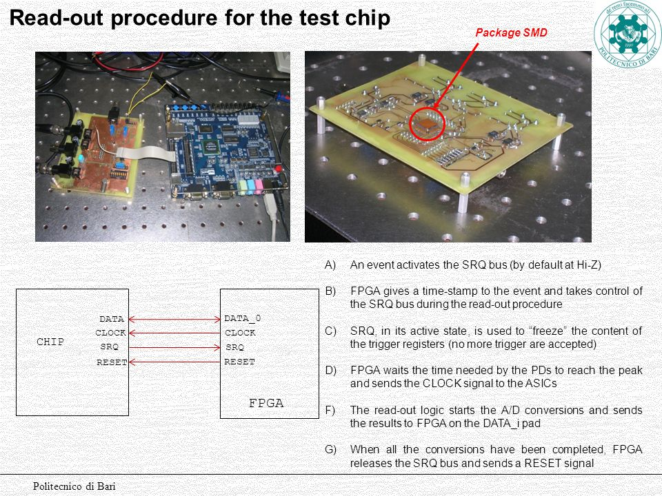 Read-out procedure for the test chip