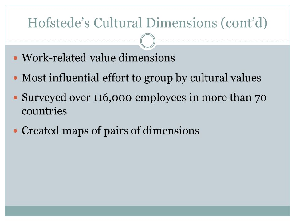cultural dimensions of two countries Some recent reading (james hunt & joseph weintraub's the coaching manager and terry bacon & karen spear's adaptive coaching) led to further thinking about the dimensions of cultural difference: what are the ways in which cultures differ.
