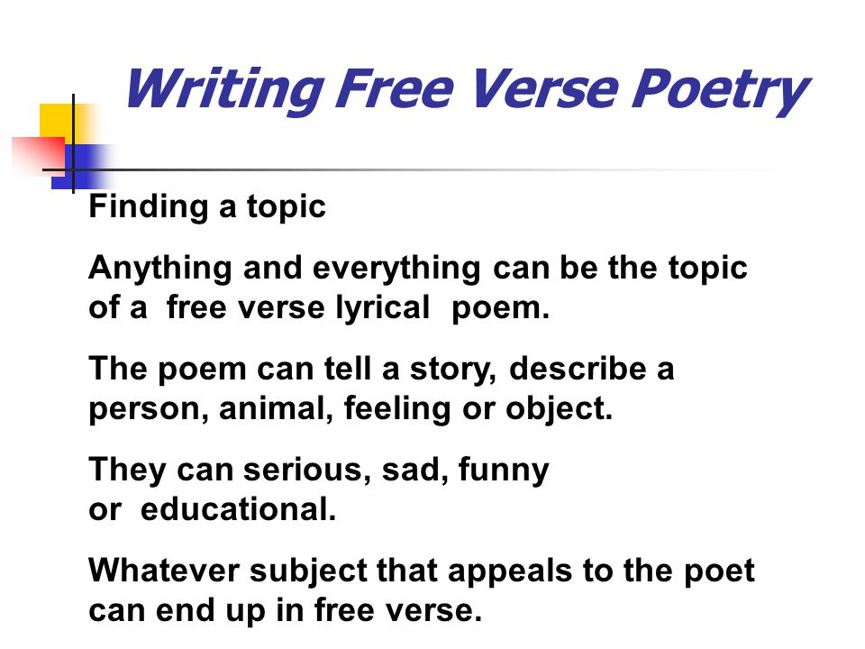 how to write a free verse poem Blank verse has been used in both drama and poetry for centuries watch this video to see how different poets use this technique to bring the.