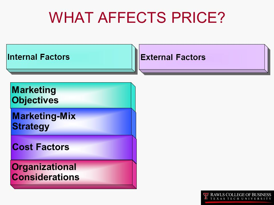 WHAT AFFECTS PRICE Marketing Objectives Marketing-Mix Strategy