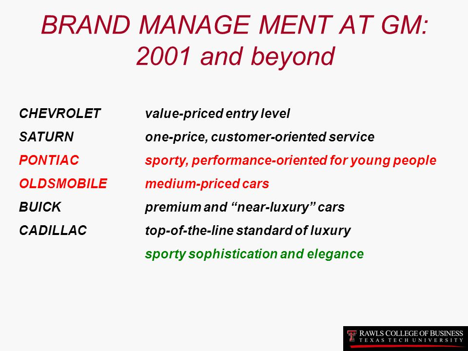 BRAND MANAGE MENT AT GM: 2001 and beyond