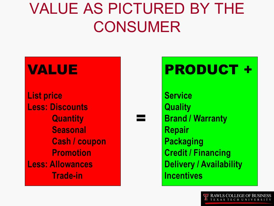 VALUE AS PICTURED BY THE CONSUMER