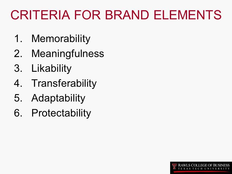 CRITERIA FOR BRAND ELEMENTS