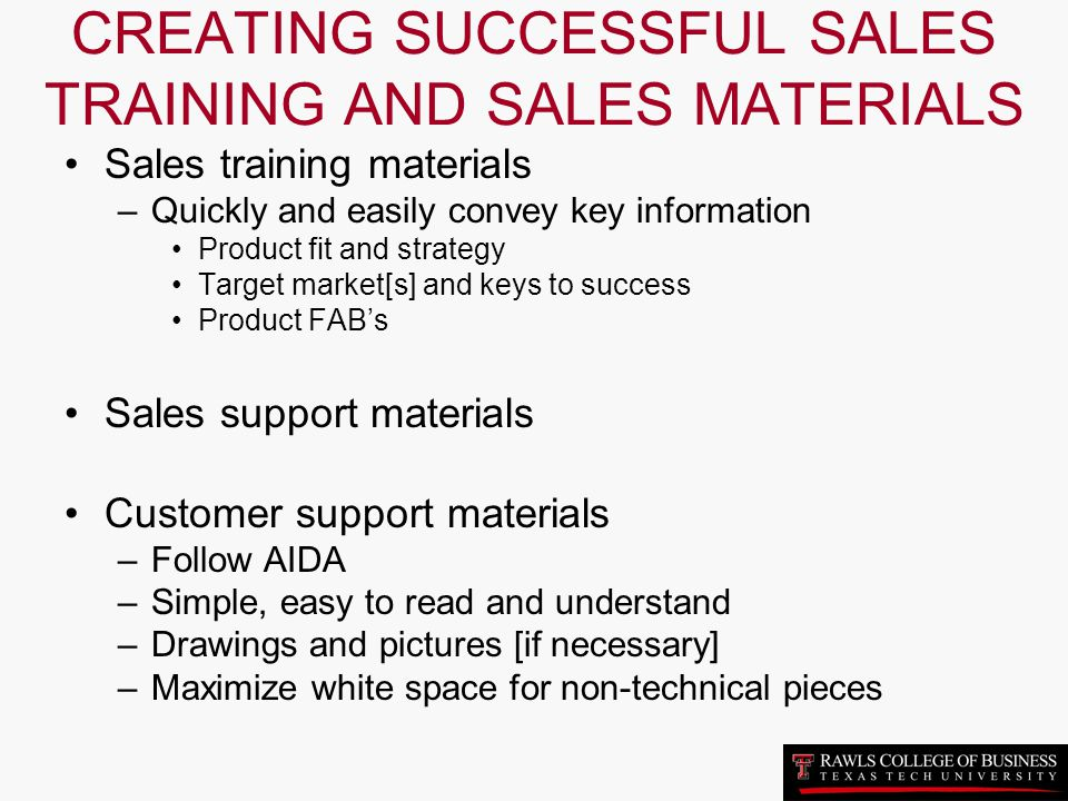 CREATING SUCCESSFUL SALES TRAINING AND SALES MATERIALS