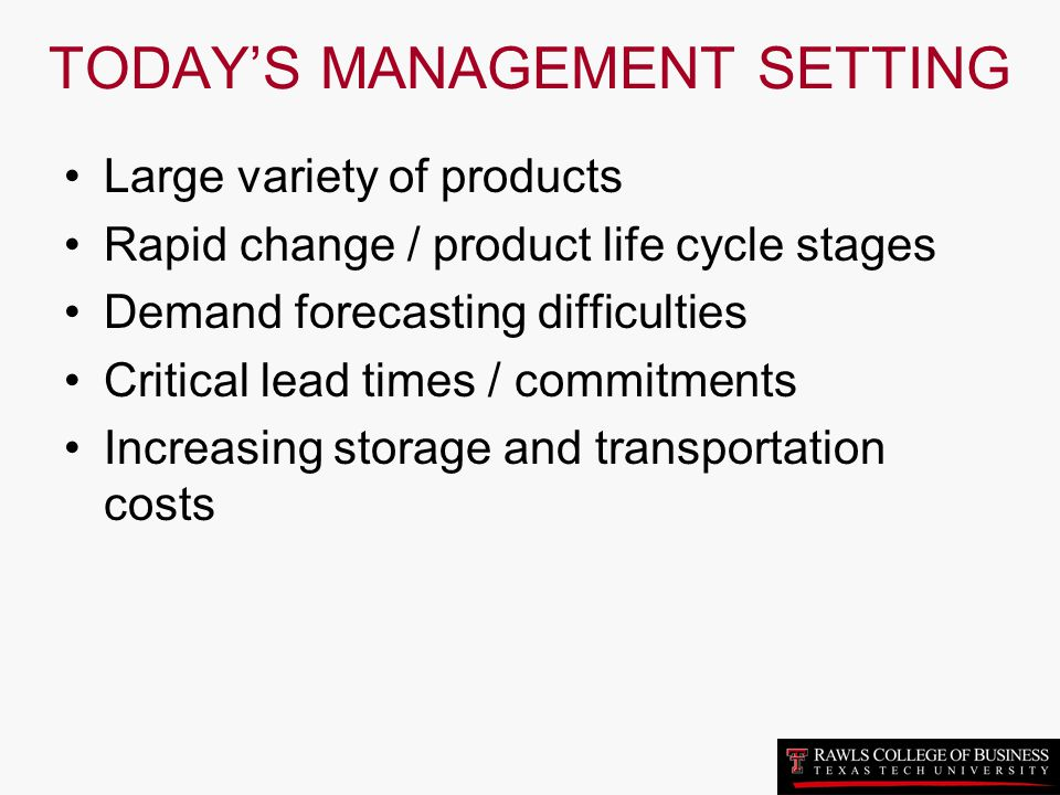 TODAY'S MANAGEMENT SETTING