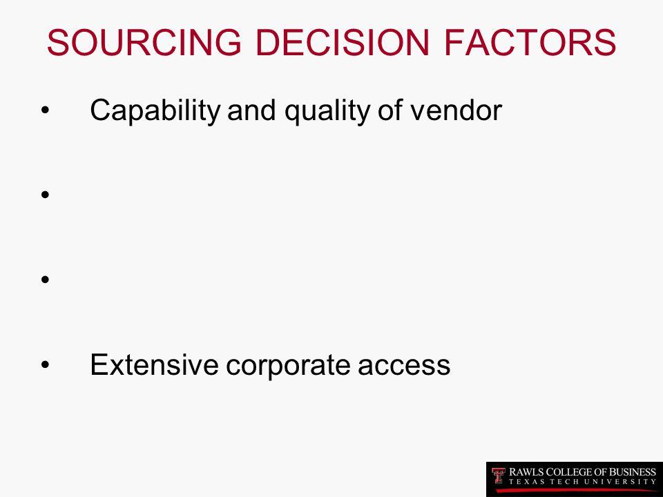 SOURCING DECISION FACTORS