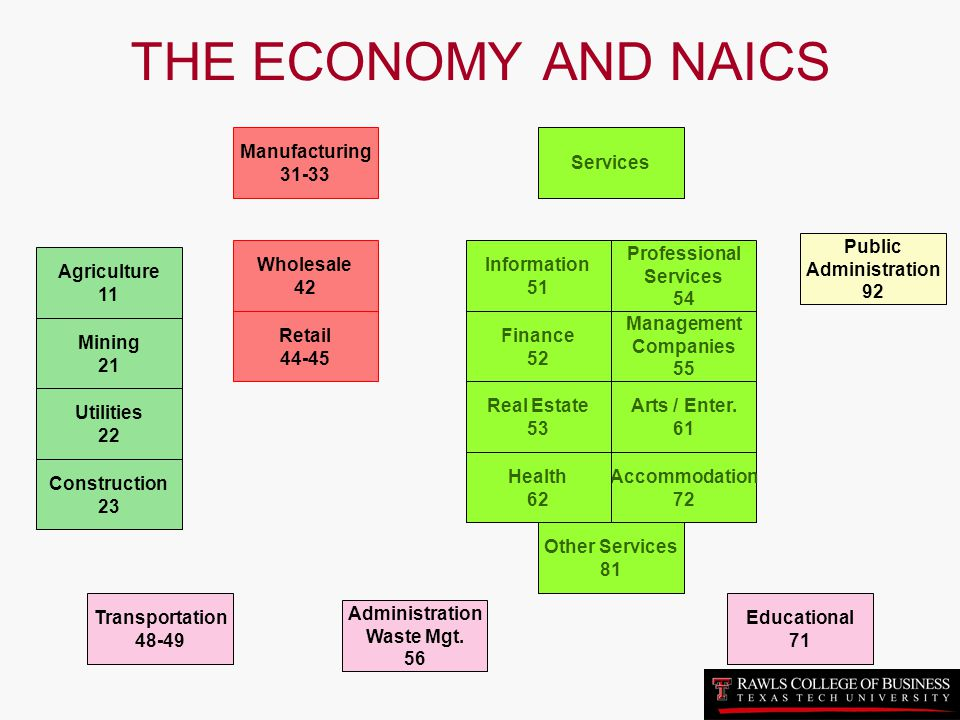 THE ECONOMY AND NAICS Manufacturing 31-33 Services Public