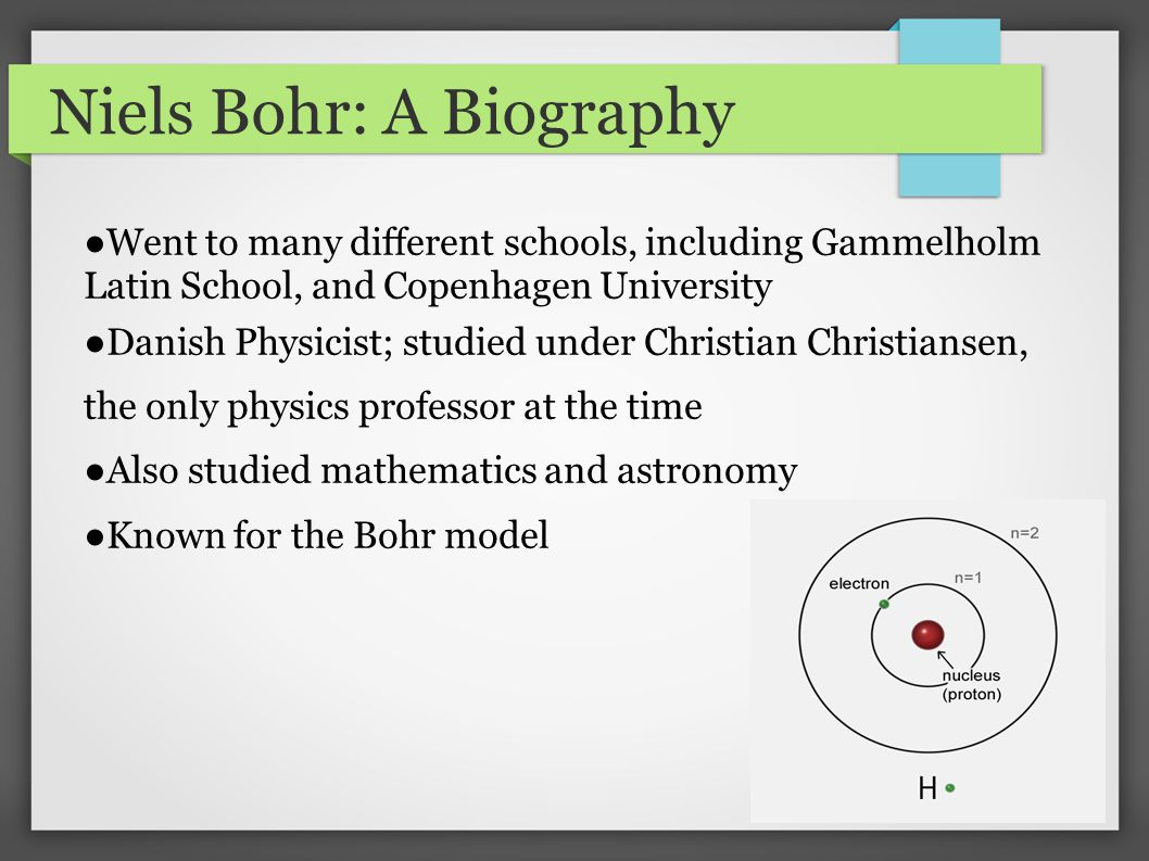 a short biography of niels hendrik david bohr Bohr was born in copenhagen in 1885 into a family that encouraged his  academic pursuits  bohr, niels henrik david, 1885-1962 atomic theory  atoms complementarity  newspaper clippings and brief tributes to bohr's  achievements.
