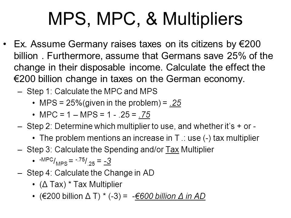 how to find the tax multiplier in economics