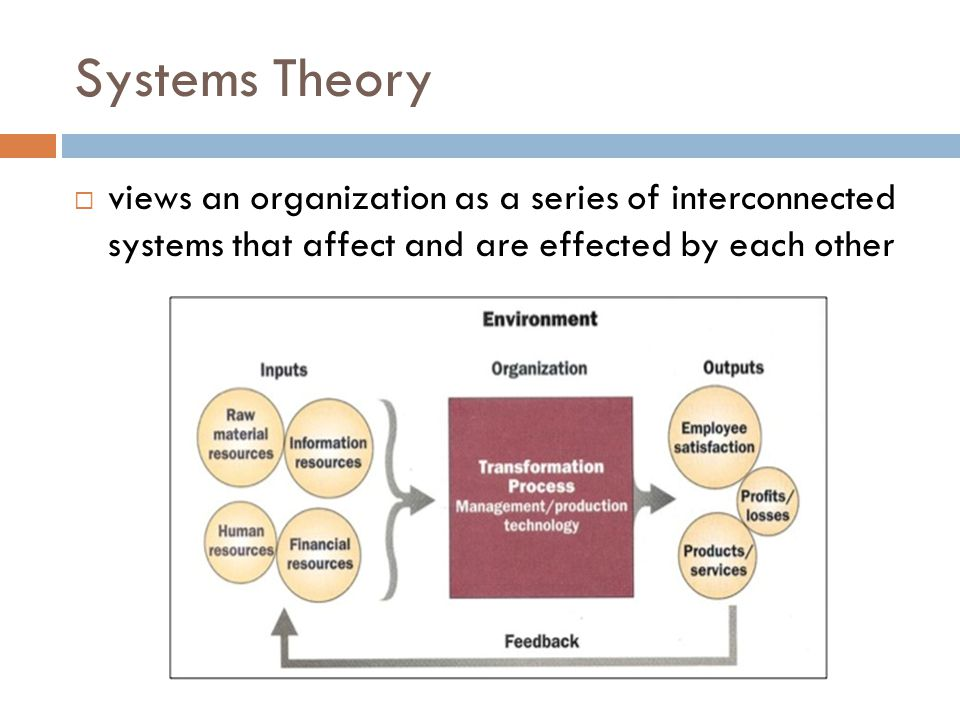 Systems Theory views an organization as a series of interconnected systems that affect and are effected by each other.