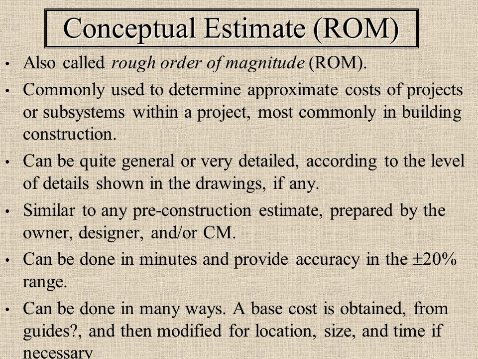 Conceptual cost estimating ppt video online download for Rough cost to build a house
