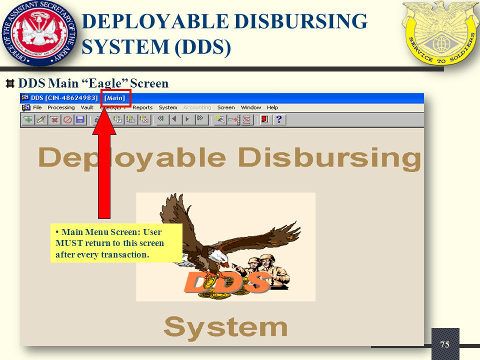 Deployable disbursing system user