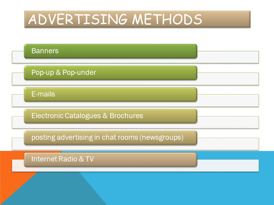 Advertising Methods Banners Pop-up & Pop-under  s