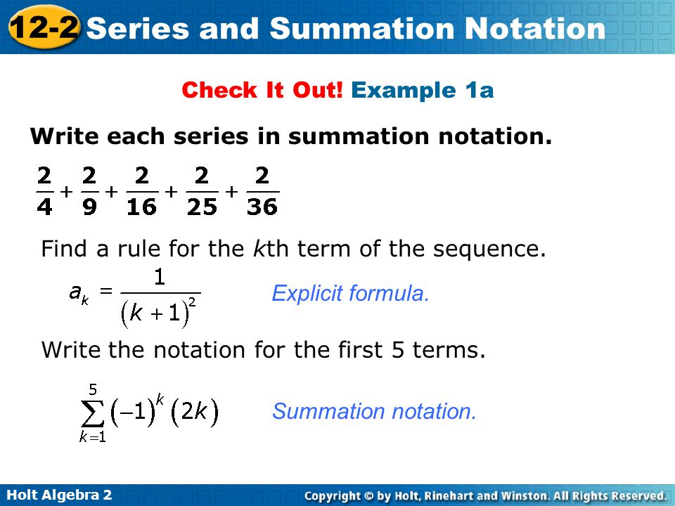 Writing A Series In Summation Notation