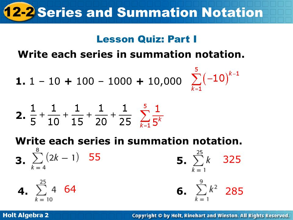 Sequences and Series: Basic Examples