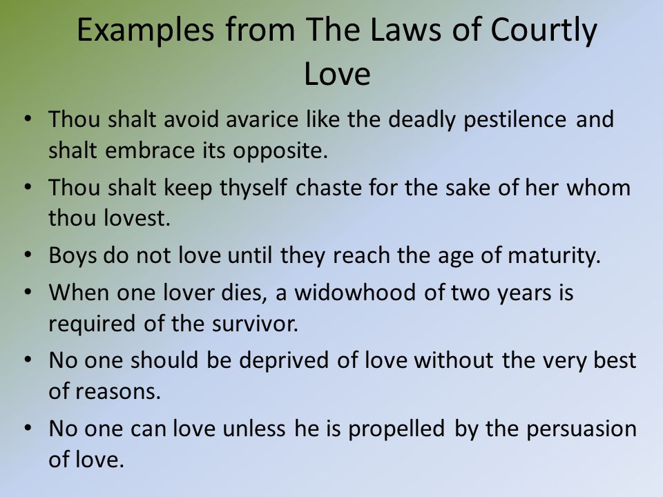 essay on courtly love Read this essay on courtly love come browse our large digital warehouse of free sample essays get the knowledge you need in order to pass your classes and more.