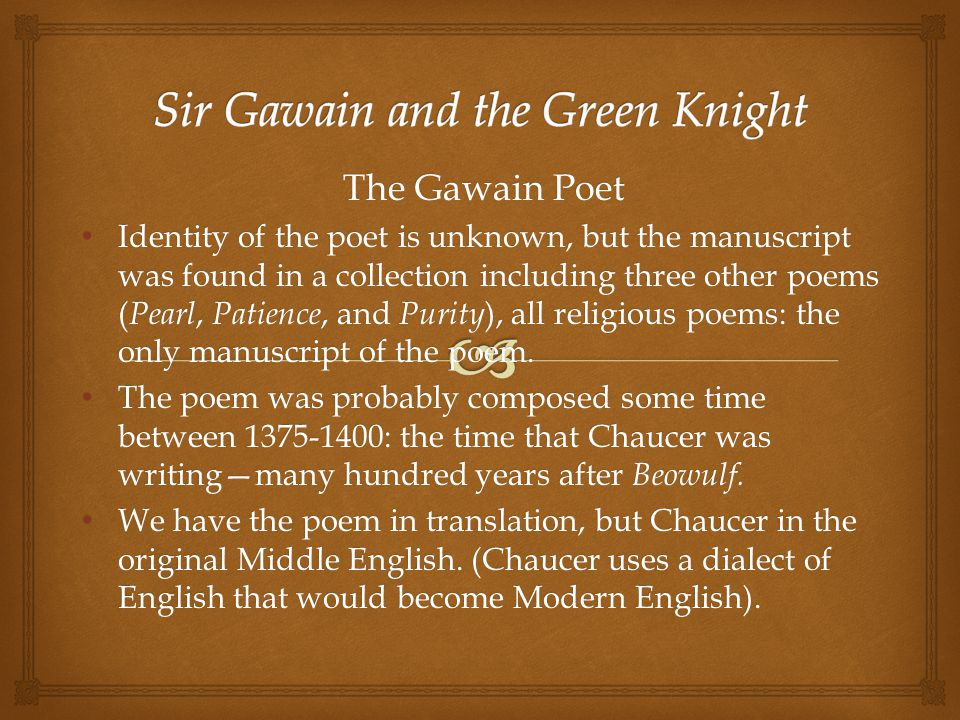 sir gawain and the green knight and beowulf thesis Sir gawain and the green knight is, scholars assure us, an english poem but to  the  written in the same alliterative verse technique/tradition as beowulf, sir  gawain and the  as i've written elsewhere, in the essay that ridland refers to.