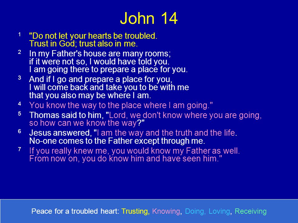 John 14 1 Do not let your hearts be troubled. Trust in God; trust also in me.