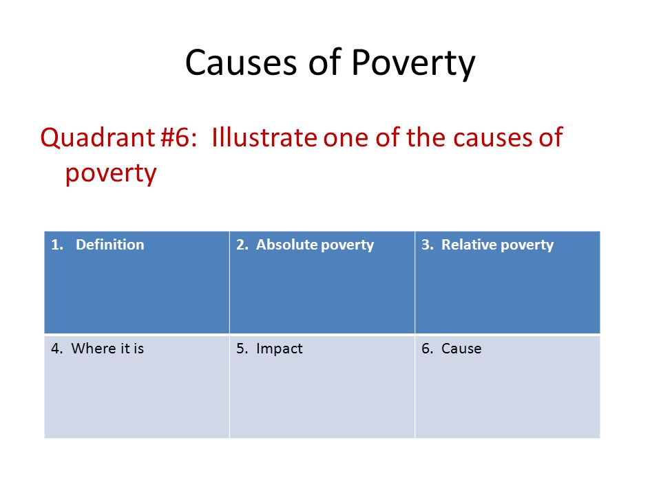 the causes and effects of poverty Poverty is like an evil monster whose vicious tentacles are far-reaching and destructive there is no doubt that it has taken a stranglehold on millions of people across the world and there is.